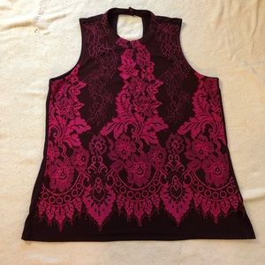 SzL large pink lace over purple Maurices tank
